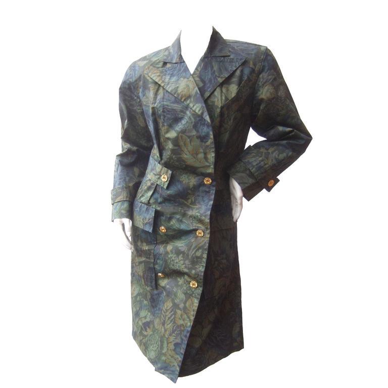 Balenciaga Paris Polished Cotton Floral Trench Coat Size 40