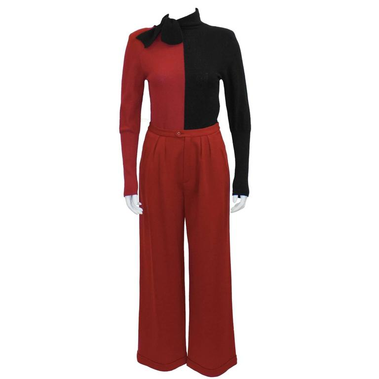 1980's Sonia Rykiel Red and Black Set  For Sale