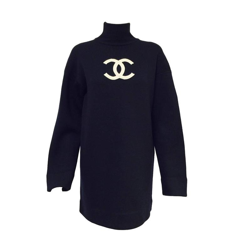ba67370bbe1eda HomeFashionClothingJumpers. Chanel Navy Blue Wool Varsity Pullover Sweater  Dress With Ivory Logo Patch For Sale