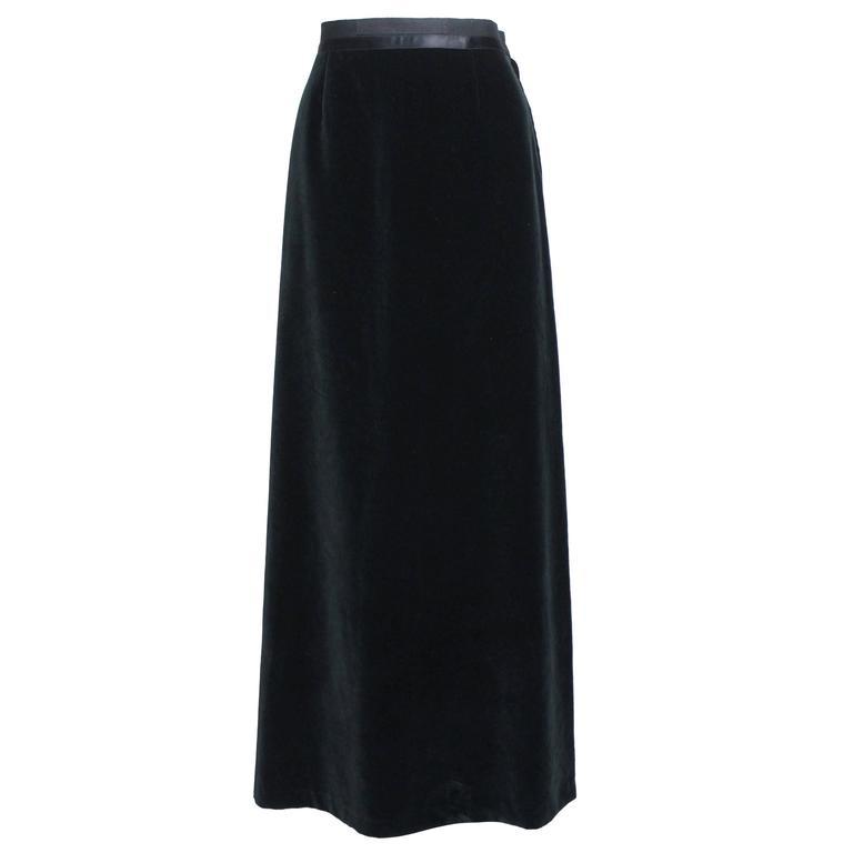 Martin Margiela Early 90s Forest Green Velvet White Label Skirt For Sale