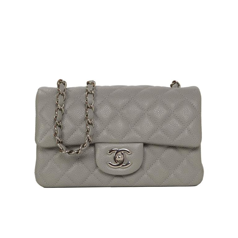 7898cc7929f961 Chanel Grey Quilted Caviar Rectangle Mini Flap Bag SHW at 1stdibs