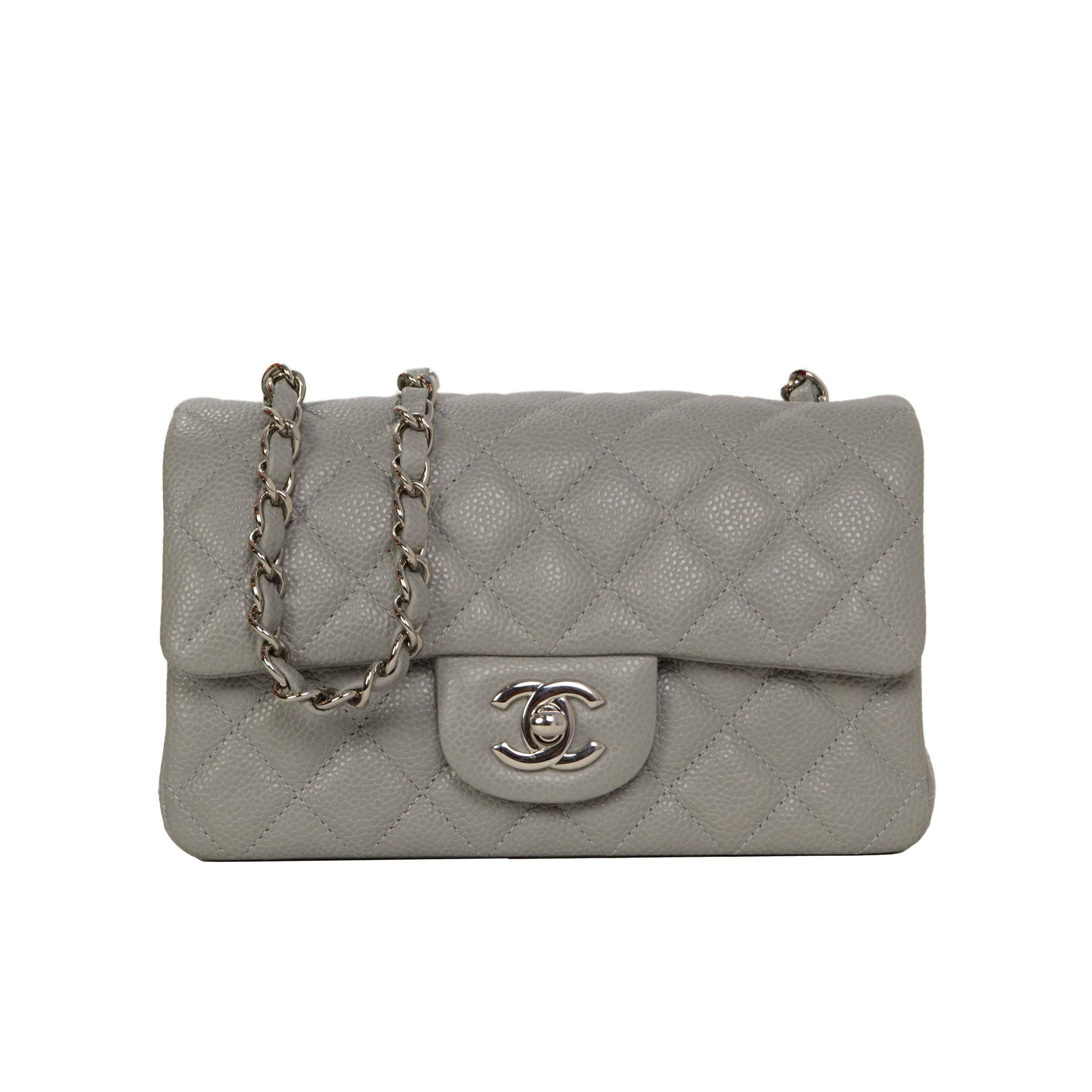 6298429e4dc3 Chanel Grey Quilted Caviar Rectangle Mini Flap Bag SHW at 1stdibs
