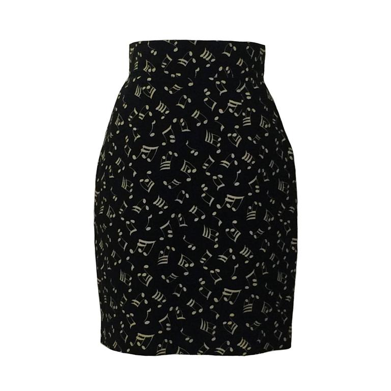 Patrick Kelly 80s Black and White Music Note Print Pencil Skirt For Sale