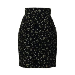Patrick Kelly 80s Black and White Music Note Print Pencil Skirt