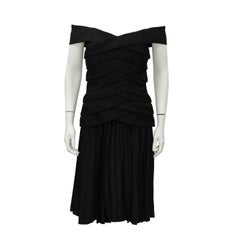 1980s Scaasi Black Off the Shoulder Cocktail Dress