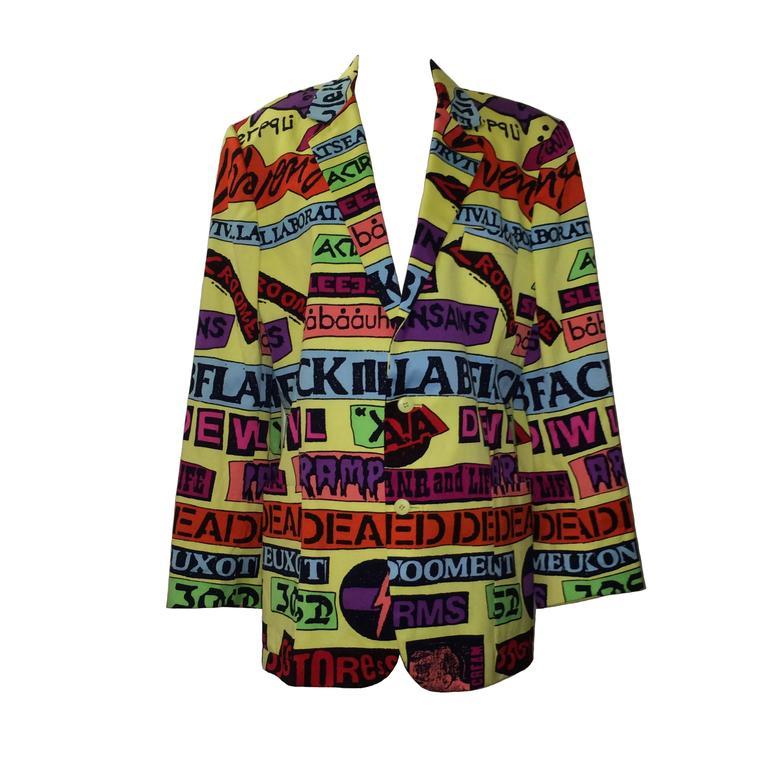 Stephen Sprouse Vintage 1988 Hardcore Band Sticker Blazer Jacket  For Sale