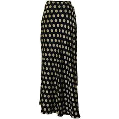 Moschino Couture! 80s Black and White Silk Polka Dot Wrap Maxi Skirt