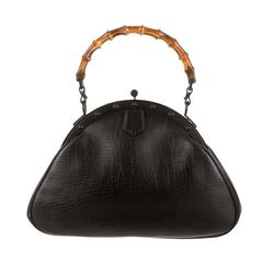Gucci Black Leather Bamboo Top Handle Satchel Bag