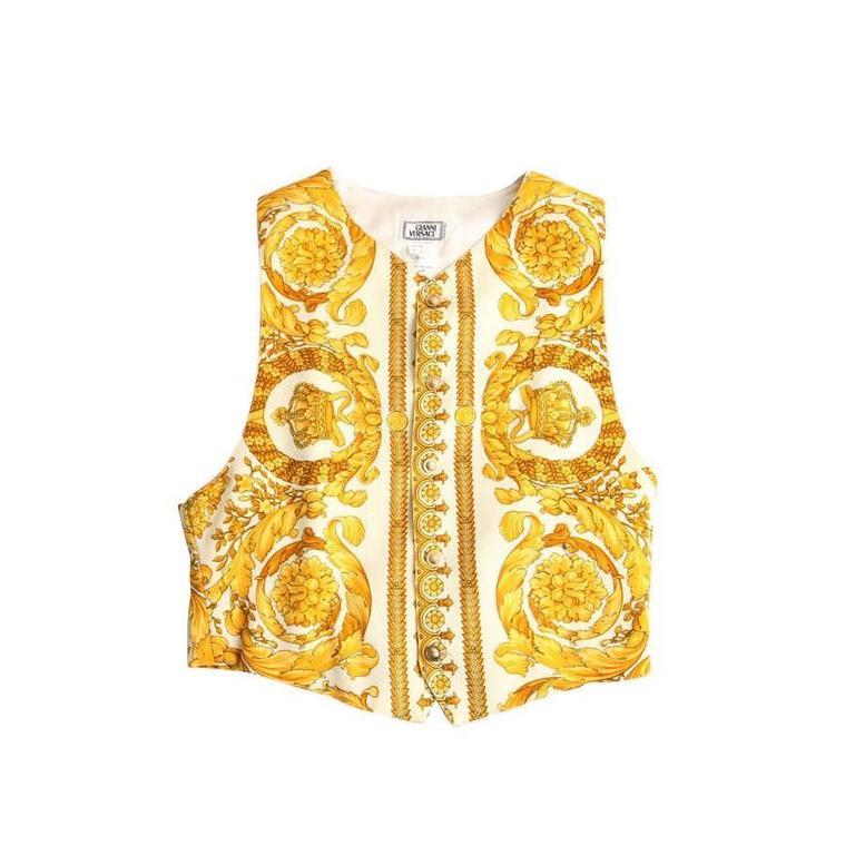 Print Vest Gianni Men's Rare Versace Baroque PkXOuZiT