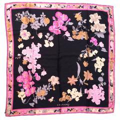 Leonard Silk Scarf - Black and Pink