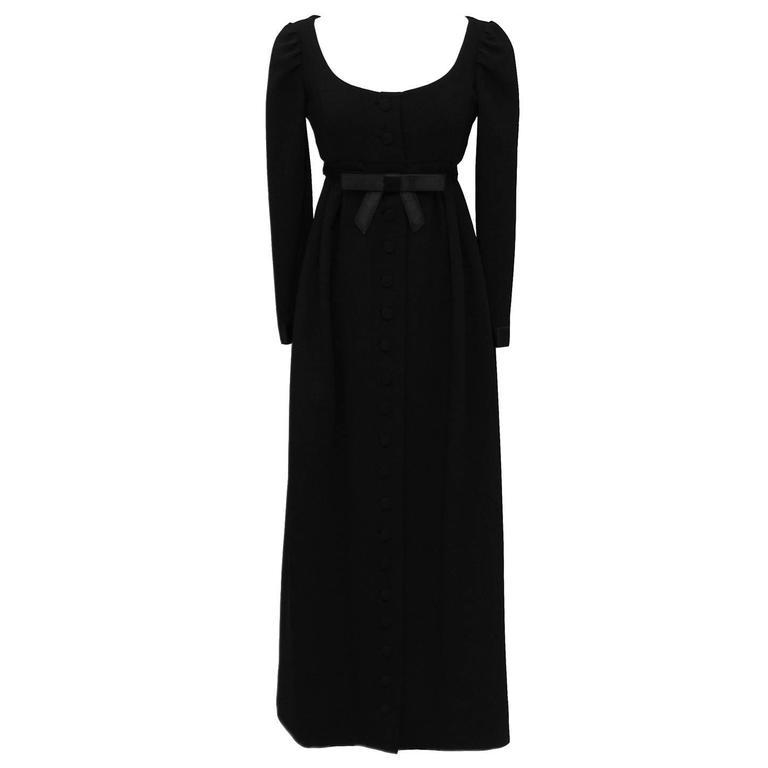 1960s Geoffrey Beene Black Empire Waist Gown