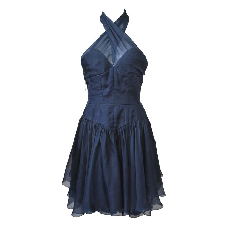 1990s Chanel Organza Halter Dress For Sale