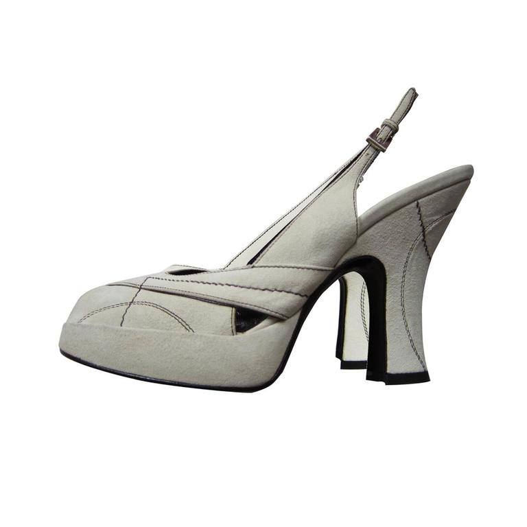 Prada Peep Of White Heel Suede Stitch