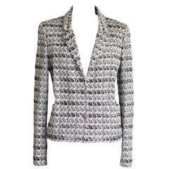 Chanel Jacket 05P White Black Subtle Silver Thread 44 / 10 nwt