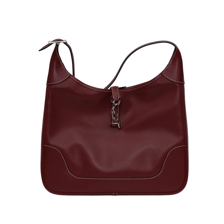 Hermes \u0026quot;Trim\u0026quot; Jackie O Shoulder Bag in Burgundy For Sale at 1stdibs