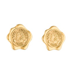 Karl Lagerfeld Vintage 90s Gold Tone Wax Seal Coin Stamp Earrings Clip On