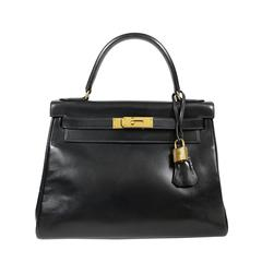 Hermès Black Box Calf 28 Kelly with Gold