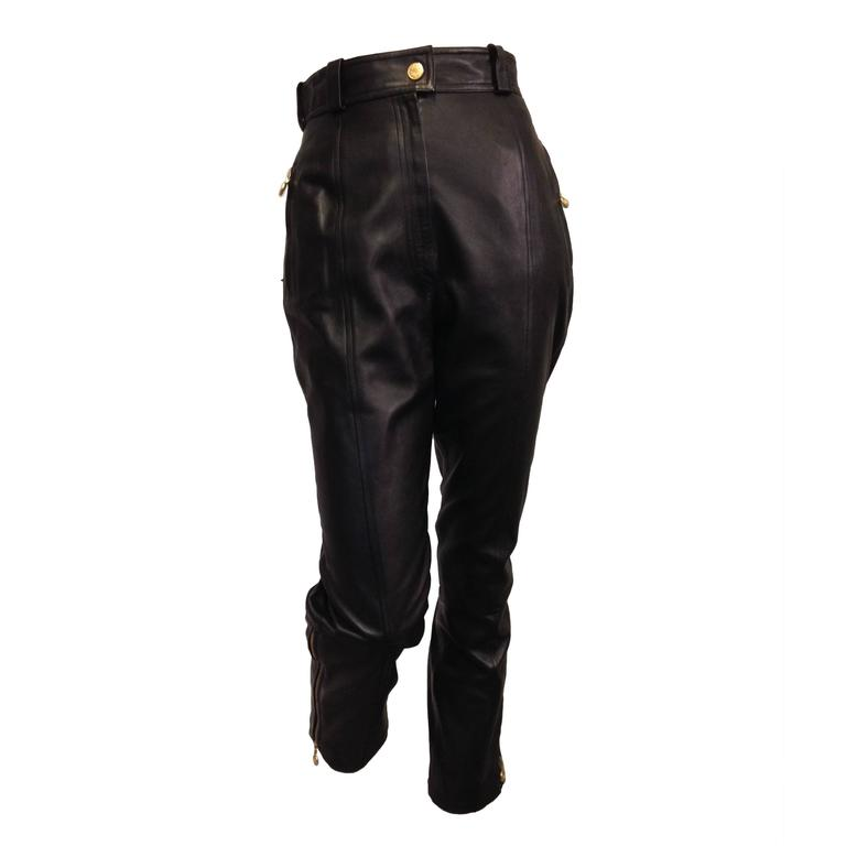 Chanel Black Leather High Waist Pants 1