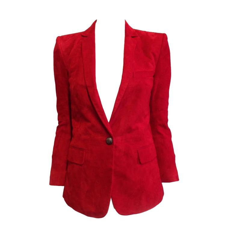 Balmain Red Suede Blazer For Sale