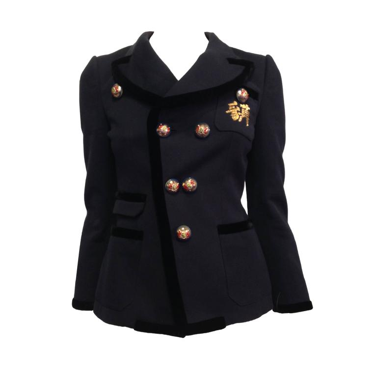 Balenciaga Navy Blazer with Gold Crest 1