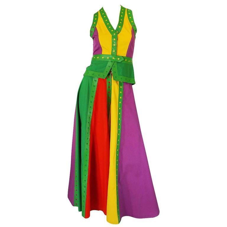 c1974 Giorgio Sant' Angelo Leather Trim Skirt & Vest For Sale
