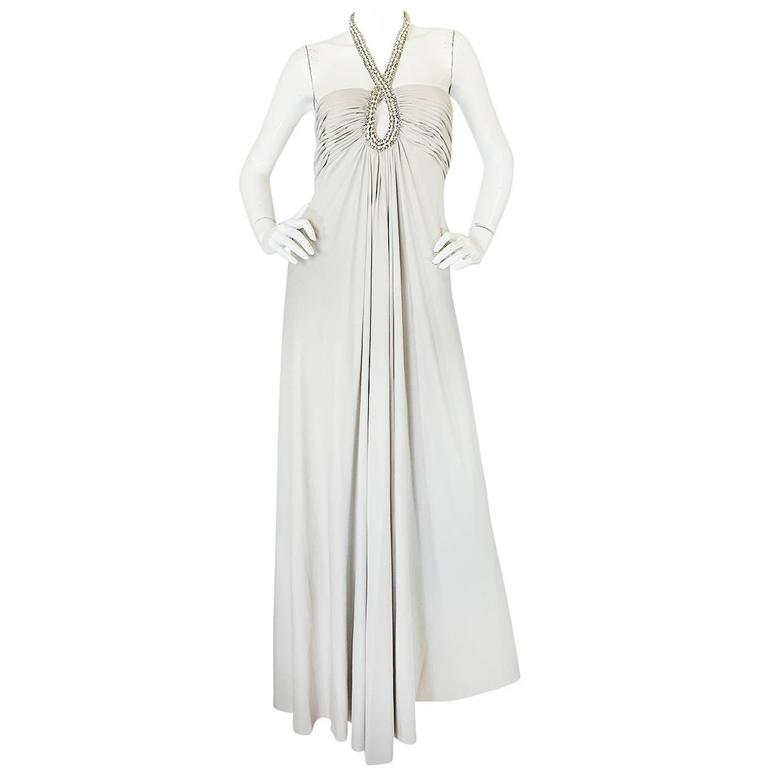 1970s Victoria Royal Jewel Neck Pale Silver Jersey Dress