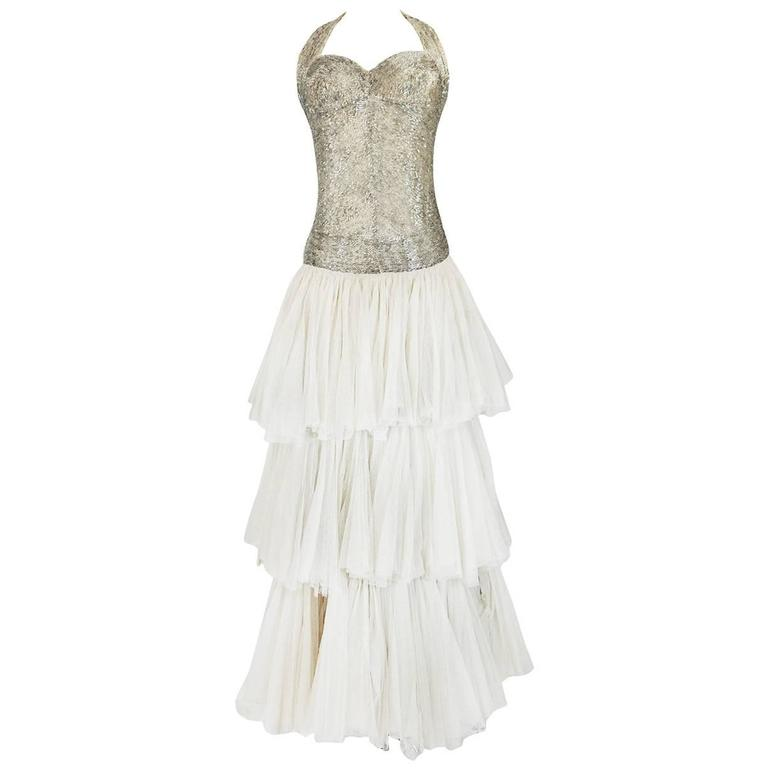 Divine Late 1920s Hand Beaded & Silk Tulle Princess Gown For Sale