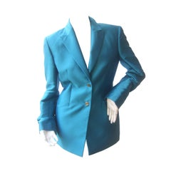 Versace Couture Turquoise Silk Shangtung Jacket