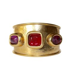 Goossens Paris Hammered Gold and Pink Rock Crystal Cuff Bracelet