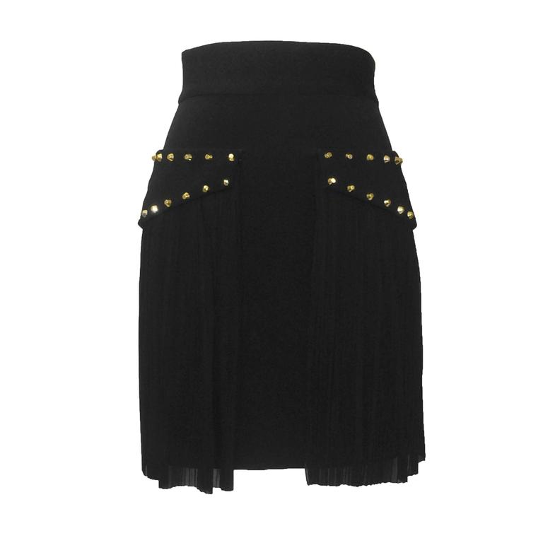 Versace New with Tags Black Pencil Skirt with Pleated Overlay and Gold Studs 1