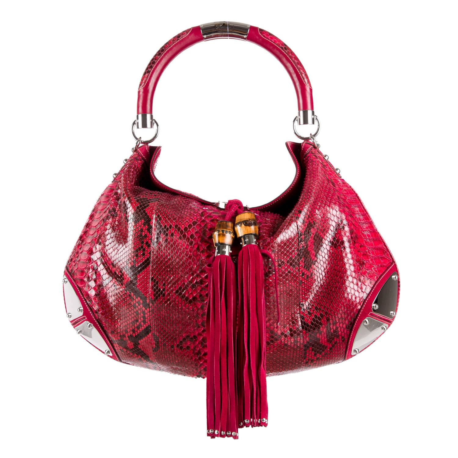 Gorgeous Snake Skin Print Bag Quality Over Quantity Price: Gucci Red And Black Python Bamboo Silver Hardware Hobo Top