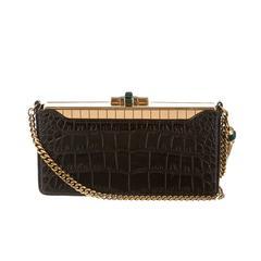 Gucci Crocodile Crystal Gold Chain Link Evening Case Clutch Shoulder Bag