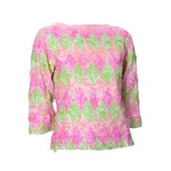 1960s Valentina Vintage Pastel Pink & Green Lined Wool Sweater With Sequins