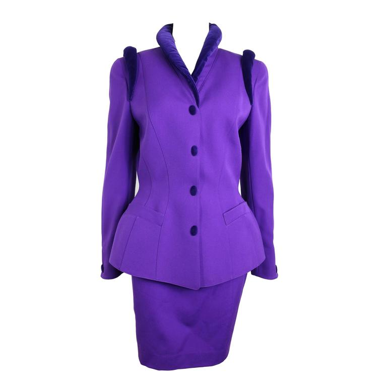 Thierry Mugler Purple Skirt Suit Ensemble  1