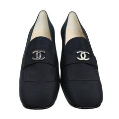 Chanel Black Silk Mary Jane Shoes
