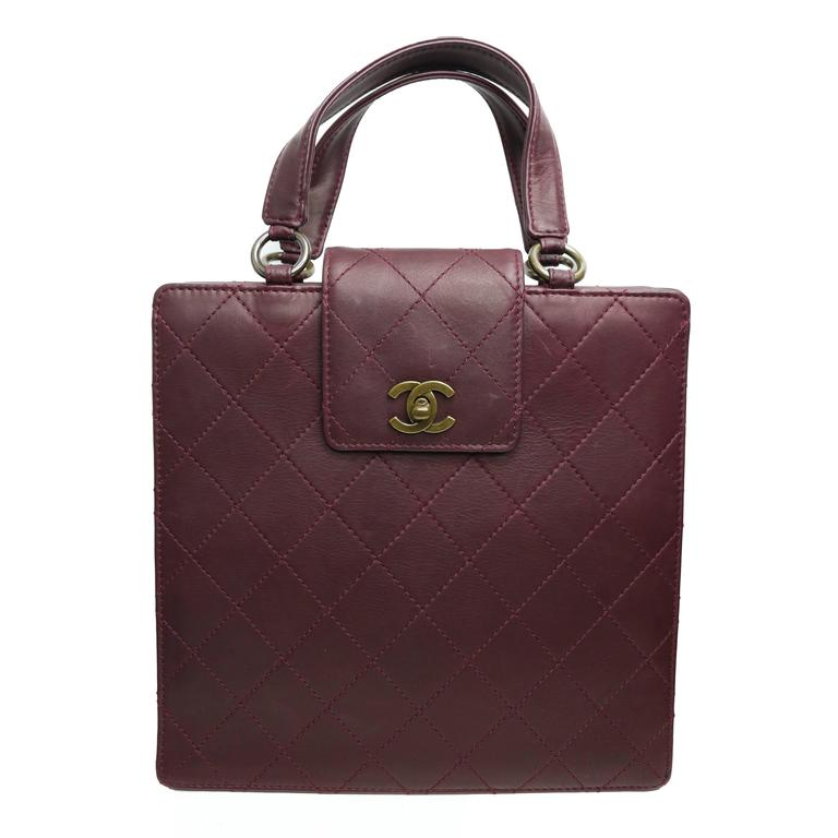 Chanel Burgundy Quilted Leather Flap Bag  For Sale
