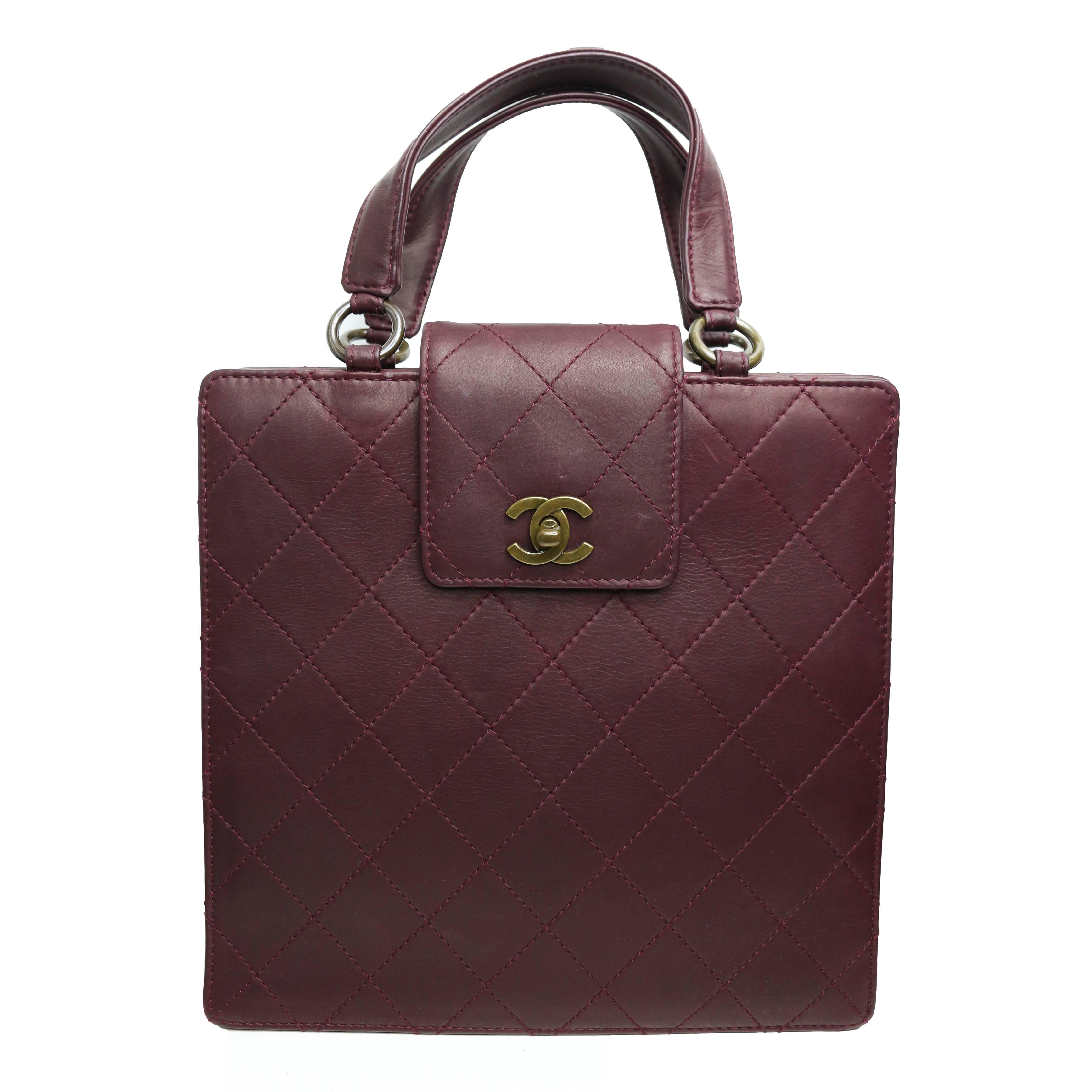Chanel Brown Velvet Quilted Handbag For Sale at 1stdibs 9116d3232748a