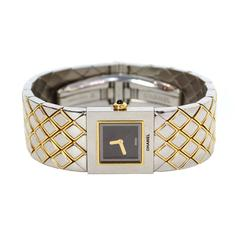 Chanel Lady's Stainless Steel Gold Quilted Matelasse Wristwatch