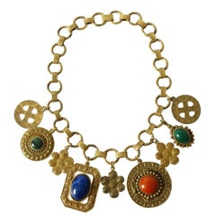 1980s Les Bernard Ethnic Charm Necklace