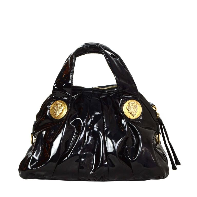 77dd56a6bf1f Gucci Black Patent Medium Hysteria Tote Bag GHW For Sale at 1stdibs