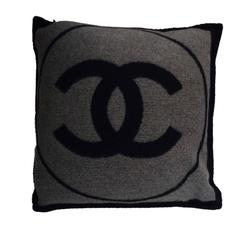 Chanel Grey & Navy Merino CC Pillow