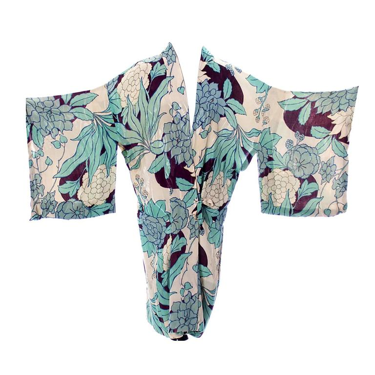 Silk Vintage Kimono Robe Hostess Gown Floral 1920s 1930s Flowers For Sale