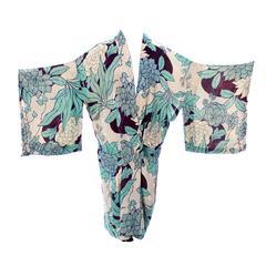 Silk Vintage Kimono Robe Hostess Gown Floral 1920s 1930s Flowers