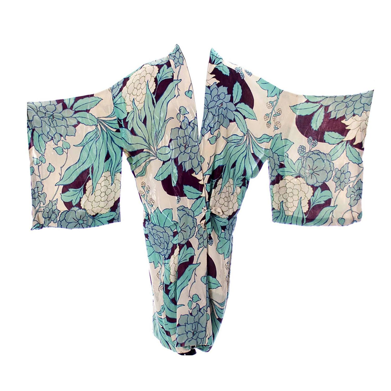 Silk Vintage Kimono Robe Hostess Gown Floral 1920s 1930s Flowers For ...