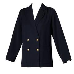 Saint Laurent Rive Gauche Vintage Navy Blue Wool Military Buttons Blazer Jacket