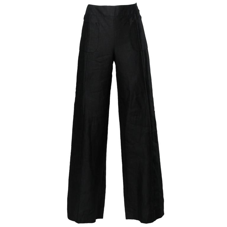 Chanel Black Linen Wide Flared Leg High Waisted Trousers/ Pants 1