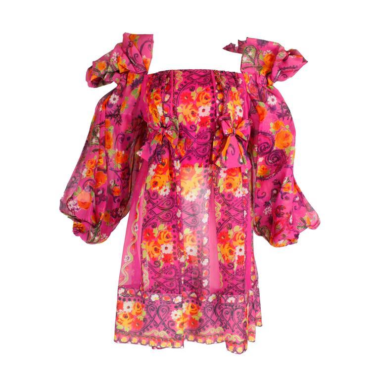 1980s Christian Lacroix Silk Organza Bare Shoulder Party Dress 1