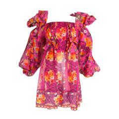 1980s Christian Lacroix Silk Organza Bare Shoulder Party Dress