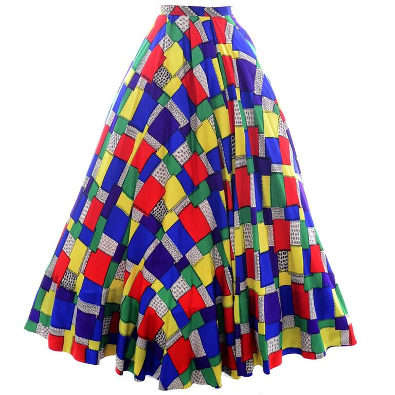 1940s Vintage Skirt in Patchwork Color block Print from Gilbert Adrian Collector 1