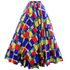 1940s Vintage Skirt in Patchwork Color block Print from Gilbert Adrian Collector